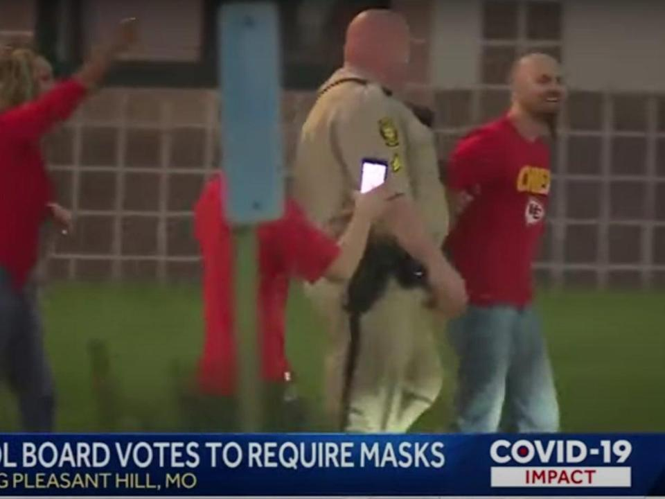 Police arrested one man at a school board meeting in Pleasant Hill, Missouri  (KMBC9News)