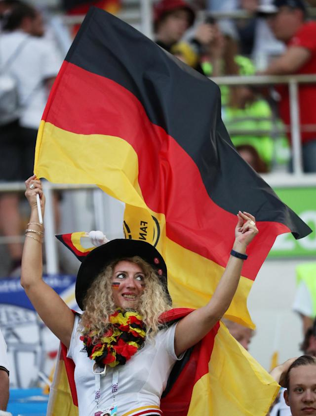 Soccer Football - World Cup - Group F - Germany vs Sweden - Fisht Stadium, Sochi, Russia - June 23, 2018 Germany fan before the match REUTERS/Francois Lenoir
