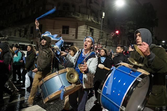 <p>Pro-life demonstrators play drums as they celebrate during a protest in Buenos Aires, Argentina, early on Thursday, Aug. 9, 2018. (Photo: Erica Canepa/Bloomberg via Getty Images) </p>