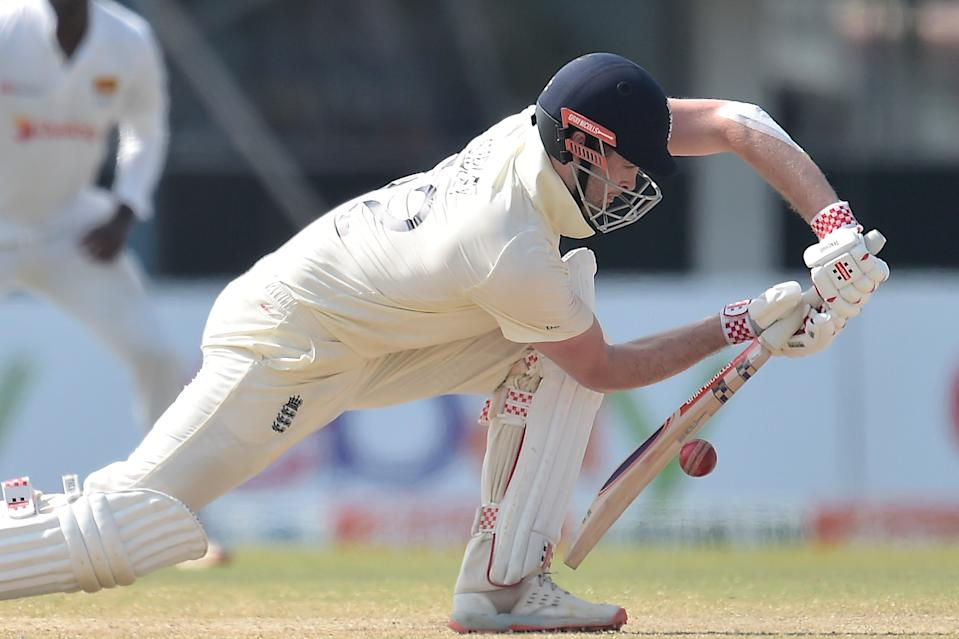 <p>Dom Sibley bats on day four of the second Test between Sri Lanka and England in Galle</p> (SLC)