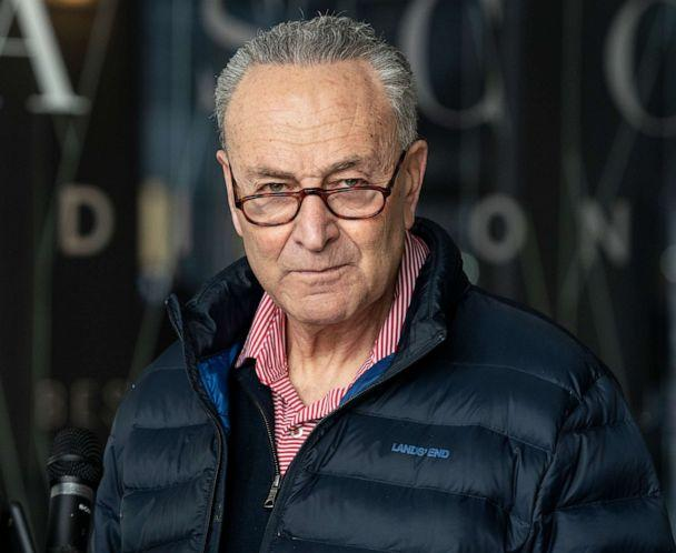 PHOTO: Senator Charles Schumer announced a plan for the next three weeks regarding cabinet nominations, COVID relief, and impeachment on 875 3rd Avenue in New York City, Jan. 24, 2021.  (Pacific Press/LightRocket via Getty Images)