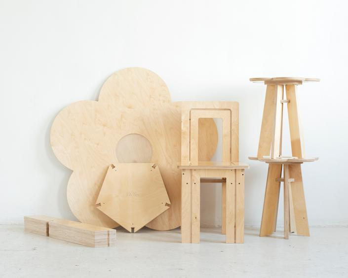 Pieces from the collection of Emmanuel Olunkwa's functional furniture.