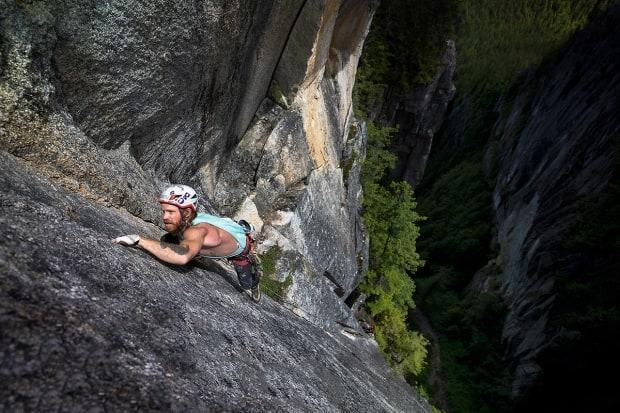 Climber Harvey Wright ascends the north gulley of the Stawamus Chief (Siy'ám'-Smánit) in the documentary Crux: The Climb Towards Mental Health, premiering at the Vancouver International Mountain Film Festival.
