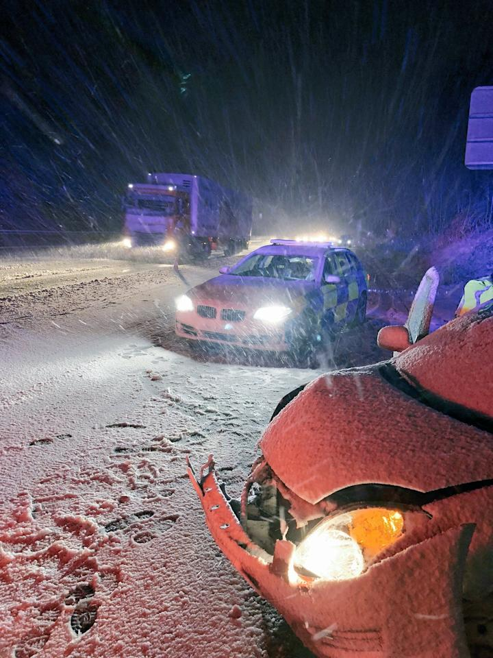 <p>Picture taken from the Twitter feed of Northants Roads and Armed Policing Team of an accident on the M1 after wintry weather swept across the country. The Flood Information Service has also issued 14 warnings, where flooding is expected and immediate action is required, and 96 alerts where flooding is possible and people should be prepared. (PA) </p>