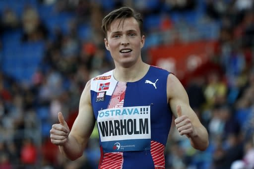 Karsten Warholm of Norway reacts after the 400 meters hurdles at the Golden Spike athletic meeting in Ostrava, Czech Republic, Tuesday, Sept. 8, 2020. (AP Photo/Petr David Josek)