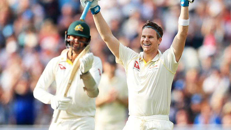 Nathan Lyon, pictured here applauding as Steve Smith celebrates his century in the first Ashes Test.