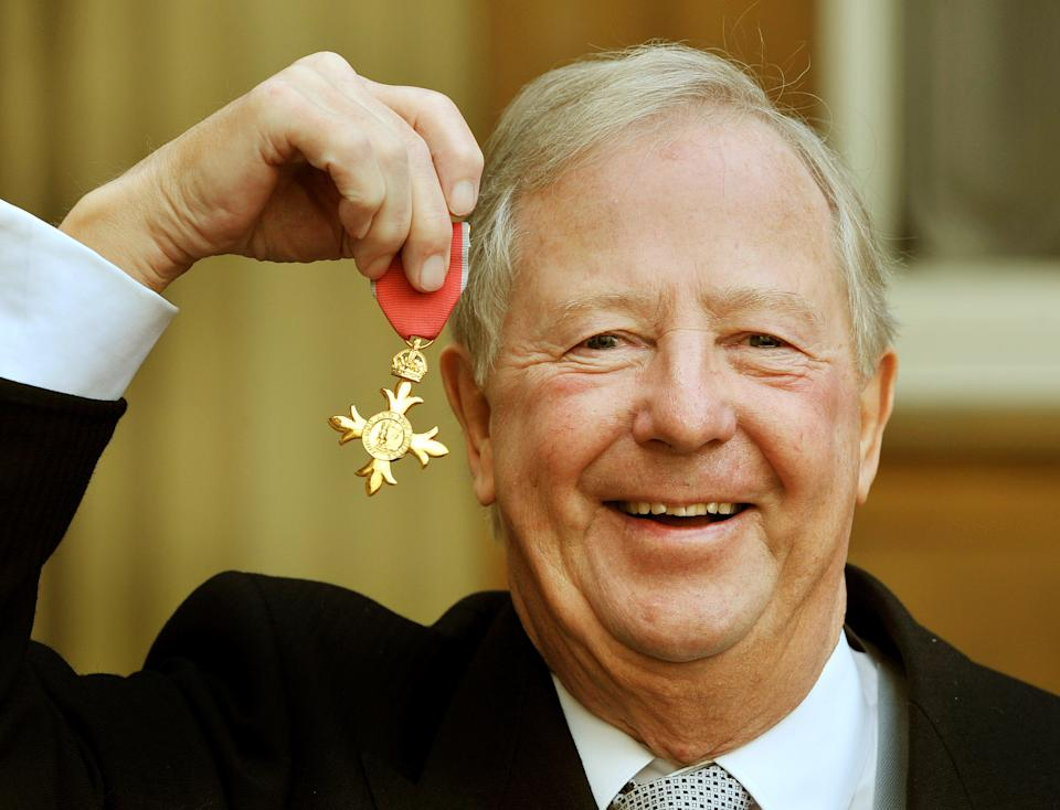 LONOND, UNITED KINGDOM - NOVEMBER 17:  Tim Brooke-Taylor, proudly holds his OBE after it was presented to him by Prince Charles, Prince Of Wales during an investiture ceremony at Buckingham Palace on November 17, 2011 in London. (Photo by John Stillwell - WPA Pool/Getty Images)
