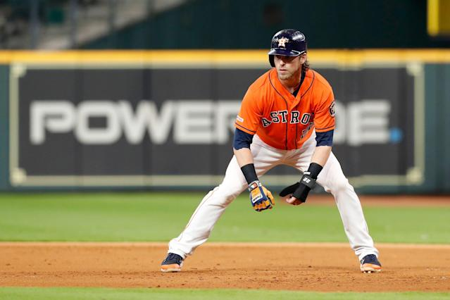 """<a class=""""link rapid-noclick-resp"""" href=""""/mlb/teams/houston/"""" data-ylk=""""slk:Astros"""">Astros</a> outfielder <a class=""""link rapid-noclick-resp"""" href=""""/mlb/players/8544/"""" data-ylk=""""slk:Josh Reddick"""">Josh Reddick</a> helped out with a couple's gender reveal. (Photo by Tim Warner/Getty Images)"""