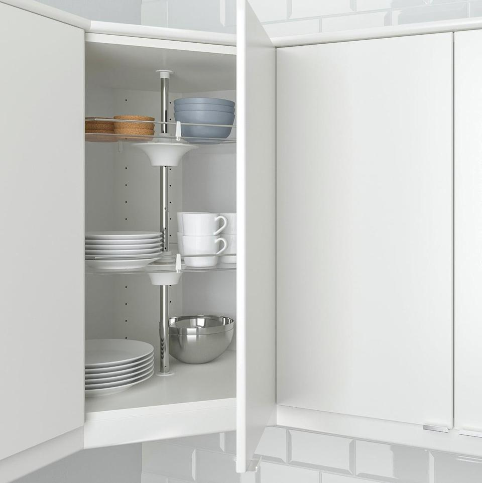 "<p>Organization meets space-saving with the <a href=""https://www.popsugar.com/buy/Utrusta%20Wall%20Corner%20Cabinet%20Carousel-403929?p_name=Utrusta%20Wall%20Corner%20Cabinet%20Carousel&retailer=ikea.com&price=75&evar1=casa%3Aus&evar9=46151613&evar98=https%3A%2F%2Fwww.popsugar.com%2Fhome%2Fphoto-gallery%2F46151613%2Fimage%2F46152160%2FUtrusta-Wall-Corner-Cabinet-Carousel&list1=shopping%2Cikea%2Corganization%2Ckitchens%2Chome%20shopping&prop13=api&pdata=1"" rel=""nofollow noopener"" target=""_blank"" data-ylk=""slk:Utrusta Wall Corner Cabinet Carousel"" class=""link rapid-noclick-resp"">Utrusta Wall Corner Cabinet Carousel</a> ($75). It keeps everything in one easy-to-see place, all while ensuring the utmost organization.</p>"