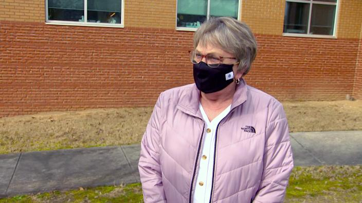 Marlene Lord, who is 68 and got her second dose at the clinic Thursday. (NBC News)
