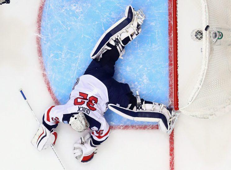 TORONTO, ON - SEPTEMBER 17: Jonathan Quick #32 of Team USA sprawls as the puck bounced off the net in the game against Team Europe during the World Cup of Hockey tournament at the Air Canada Centre on September 17, 2016 in Toronto, Canada. Team Europe shutout Team USA 3-0. (Photo by Bruce Bennett/Getty Images)