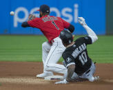 Chicago White Sox's Yoan Moncada slides safely into second base with a double as Cleveland Indians' Amed Rosario waits for the throw during the fifth inning of a baseball game in Cleveland, Saturday, Sept. 25, 2021. (AP Photo/Phil Long)
