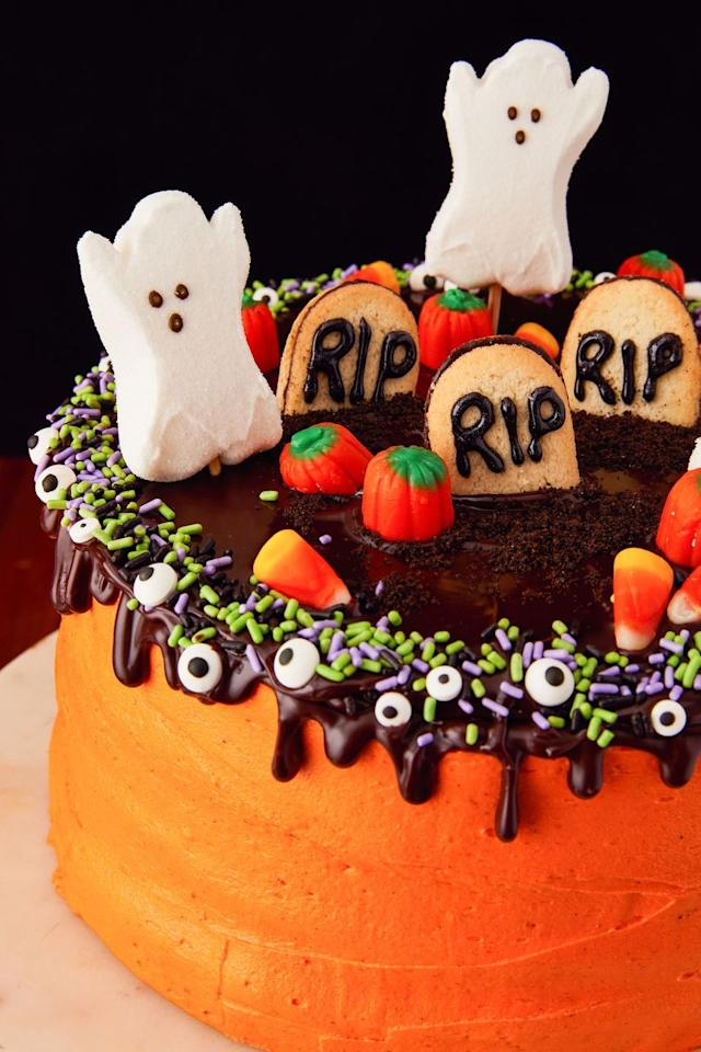 """<p>It's almost too cute to eat, but you'll also feel too bad to waste it. I mean, those Milano gravestones look so good, it really is scary.</p><p>Get the recipe from <a href=""""https://www.delish.com/cooking/recipe-ideas/a23712647/halloween-layer-cake-recipe/"""" target=""""_blank"""">Delish</a>.</p>"""