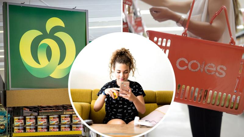 Pictured, Coles and Woolworths logos, young woman on phone. Images: Getty