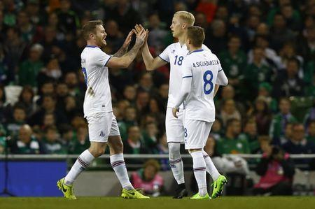 Iceland's Hordur Bjorgvin Magnusson celebrates scoring their first goal with team mates