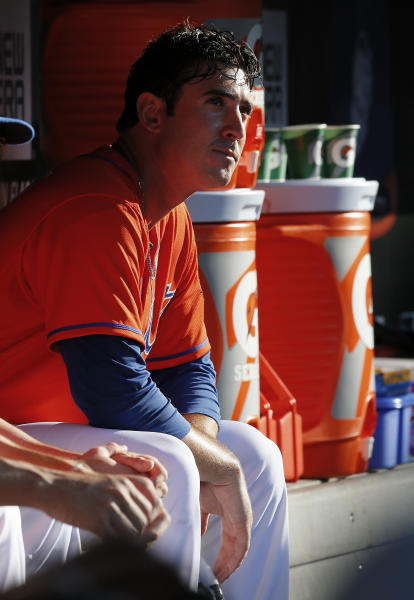 New York Mets starting pitcher Matt Harvey sits in the dugout during the sixth inning of an interleague baseball game against the Detroit Tigers at Citi Field in New York, Saturday, Aug. 24,2013. (AP Photo/Paul J. Bereswill)