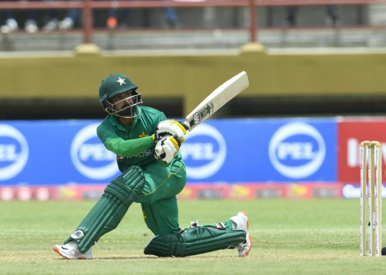 Mohammad Hafeez of Pakistan hits 4 during the 1st ODI match between West Indies and Pakistan at Guyana National Stadium, Providence, Guyana on April 7, 2017