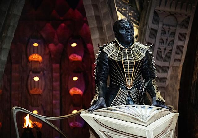 <p>Chris Obi as T'Kuvma in CBS's <i>Star Trek: Discovery</i>.<br><br>(Photo: Jan Thijs/CBS) </p>