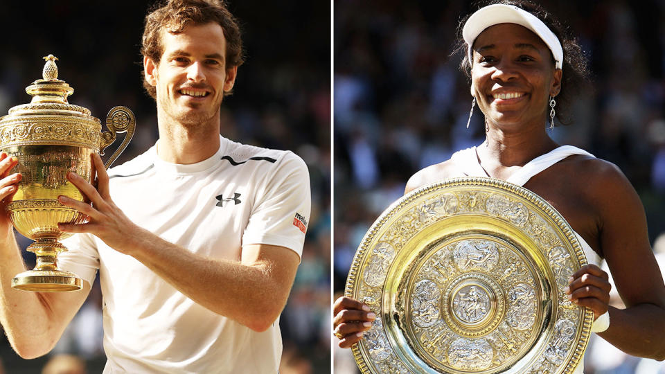 Andy Murray and Venus Williams, pictured here at Wimbledon.