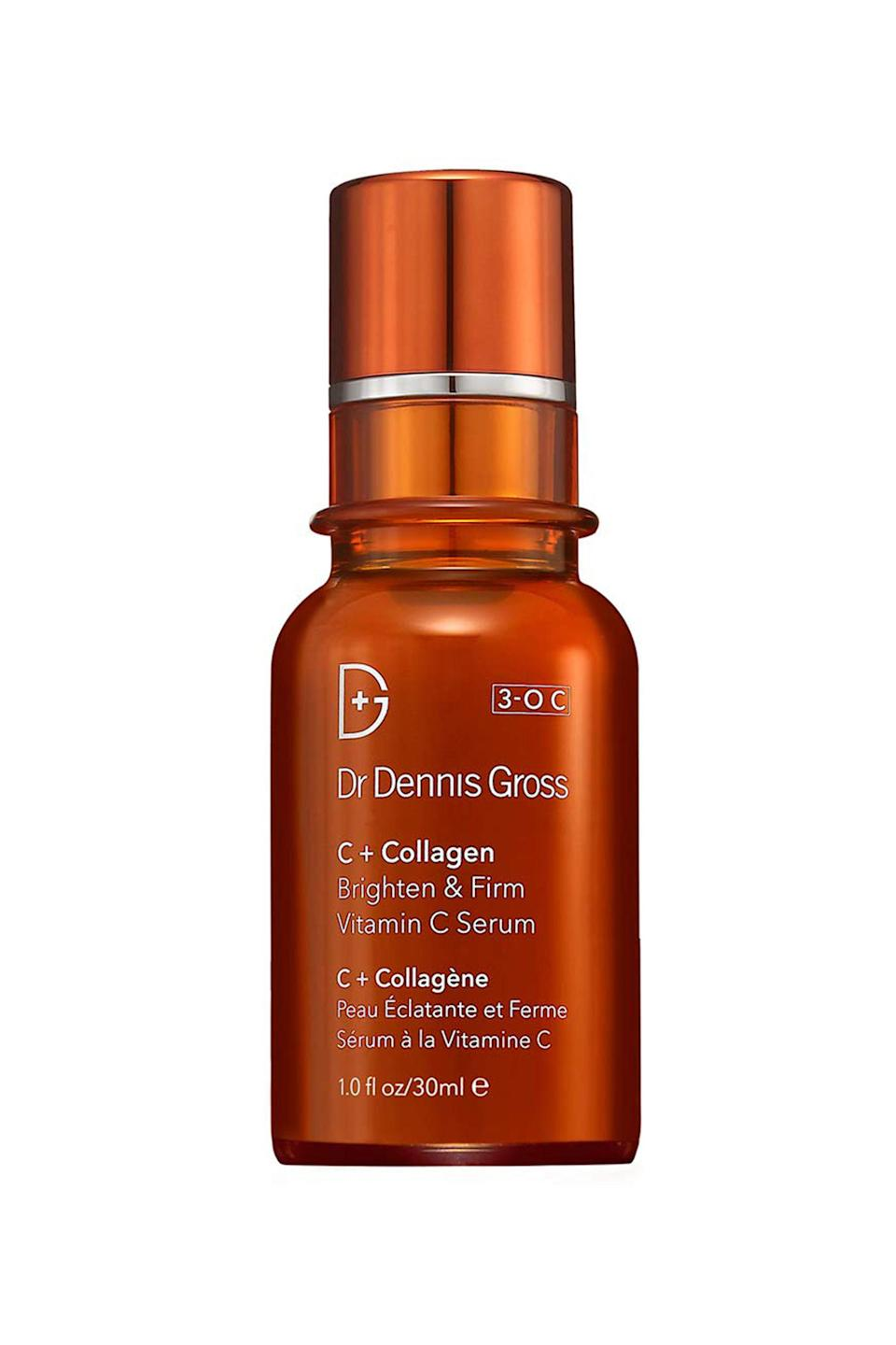 "<p><strong>Dr. Dennis Gross Skincare</strong></p><p>sephora.com</p><p><strong>$78.00</strong></p><p><a href=""https://go.redirectingat.com?id=74968X1596630&url=https%3A%2F%2Fwww.sephora.com%2Fproduct%2Fc-collagen-brighten-firm-vitamin-c-serum-P415209&sref=https%3A%2F%2Fwww.redbookmag.com%2Fbeauty%2Fg34658814%2Fface-serum%2F"" rel=""nofollow noopener"" target=""_blank"" data-ylk=""slk:Shop Now"" class=""link rapid-noclick-resp"">Shop Now</a></p><p>Brighten up dull skin by slathering your face with this illuminating gel-serum hybrid packed with potent Vitamin C. It absorbs quickly and leaves behind smoother and more luminous skin</p>"