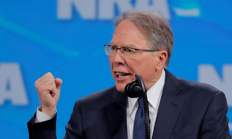 The NRA CEO Wayne LaPierre at the organization's annual meeting in Indianapolis, Indiana, 26 April 2019.
