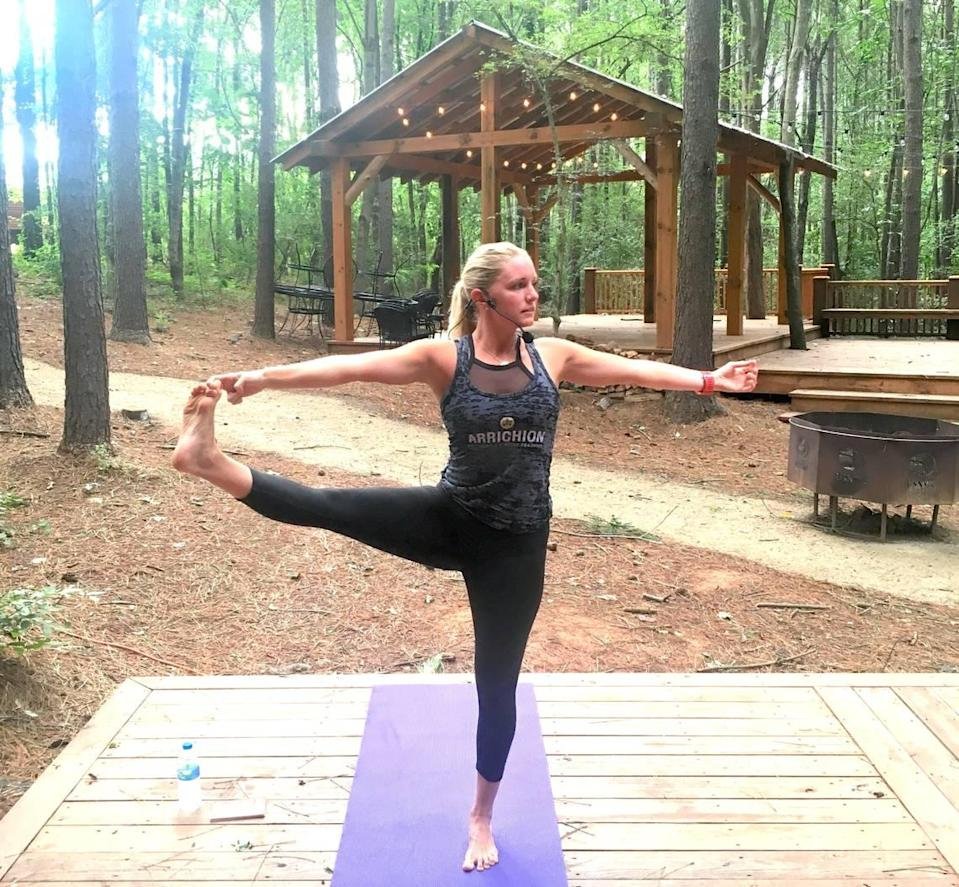 In this file photo, Quinn Burton of Arrichion Hot Yoga teaches a yoga class at the U.S. National Whitewater Center.