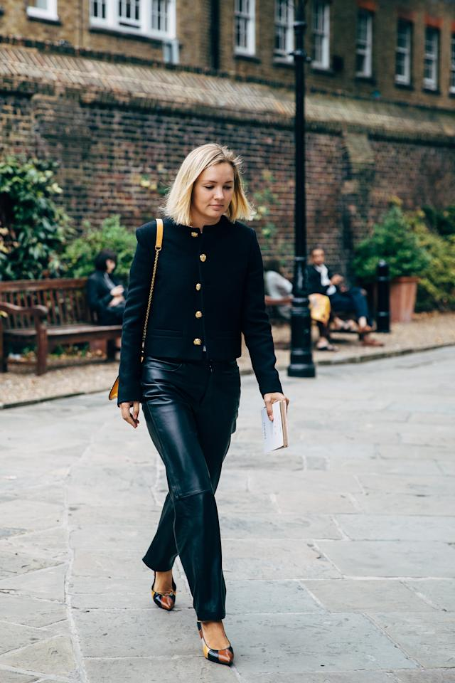 <p>While women are investing in leather and faux-leather pants in olive green, chestnut, and butter tones, to take on the trend in its most basic form, slick, black, structured styles are where it's at.</p>