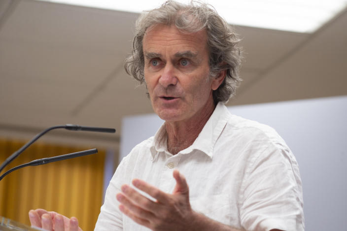 The director of the Coordination Center for Health Alerts and Emergencies Fernando Simon speaks during a press conference on the evolution of the COVID-19 convened at the Ministry of Health, on August 31, 2020 in Madrid, Spain. (Oscar Gonzalez/NurPhoto via Getty Images)