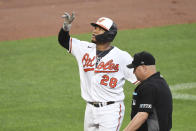 Baltimore Orioles' Pedro Severino gestures skyward after hitting a three-run home run off Miami Marlins starting pitcher Jordan Holloway during the second inning of a baseball game Wednesday, July 28, 2021, in Baltimore. (AP Photo/Terrance Williams)