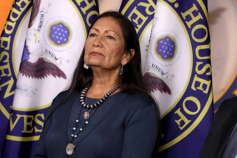 WASHINGTON, DC - SEPTEMBER 27: Rep. Deb Haaland (D-NM) joins fellow House Democrats for a news conference to mark 200 days since they passed H.R. 1, the For the People Act, at the U.S. Capitol September 27, 2019 in Washington, DC. Following the release of a whistle-blower complaint about abuse of power, the House Democratic leadership announced this week that it is launching a formal impeachment inquiry against President Donald Trump. (Photo by Chip Somodevilla/Getty Images)
