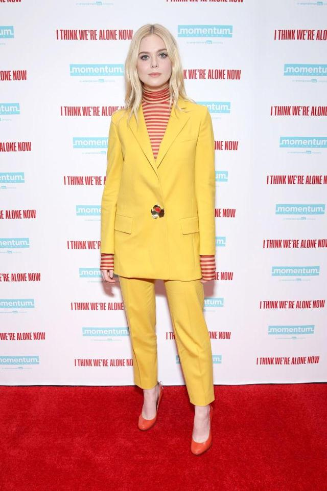 <p>Elle Fanning reminded us why she's our go-to style muse in a punchy yellow co-ord and striped polo neck on September 12. We don't know about you but we're digging the sixties vibes… <em>[Photo: Getty]</em> </p>