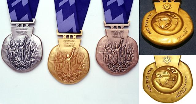 <p>The Salt Lake 2002 medals vary depending on the sports, a first in Olympic history. An athlete's event is depicted on the back of the medal.<br> (Photos by Matthew Stockman/Allsport, AP Photo/Tina Fineberg, IOC) </p>