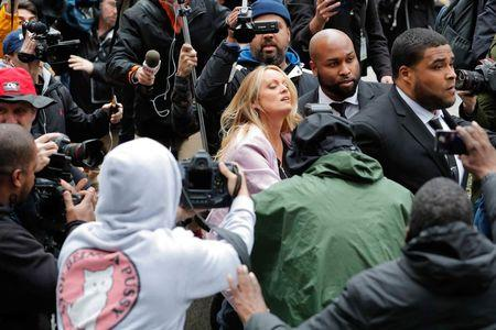 Stormy Daniels enters federal court in the Manhattan borough of New York City, New York, U.S., April 16, 2018. REUTERS/Lucas Jackson