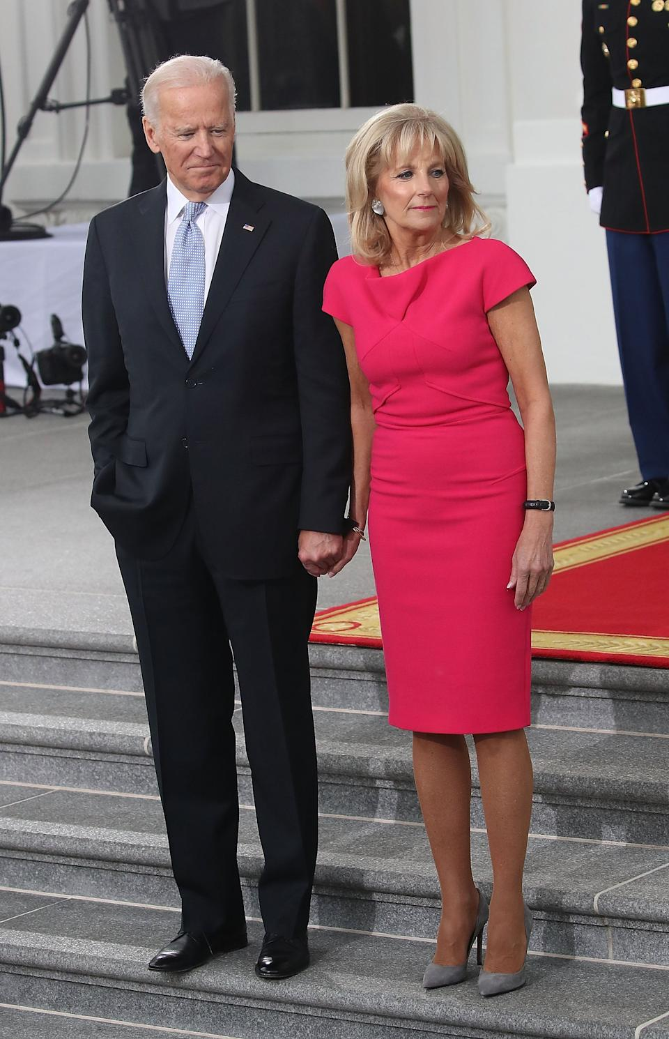 Jill Biden wears a hot pink shift dress and pumps, January 2017Getty Images