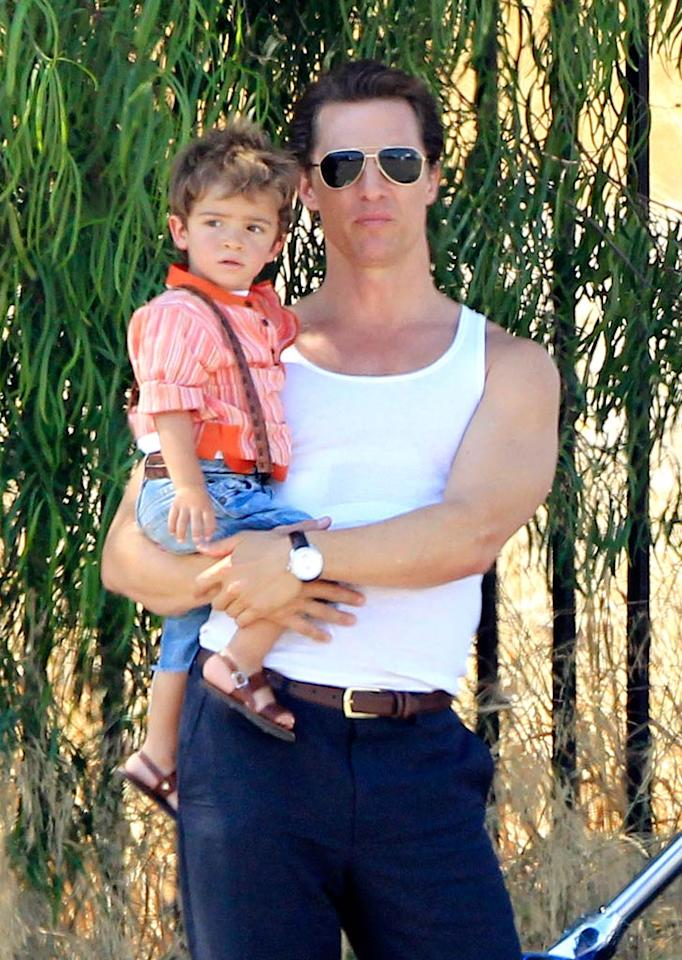 """But Levi eventually had his turn in Matthew's arms, too! The tot must still be thrilled about the Alves-McConaughey clan's recent adoption of a cat from a Malibu, California, shelter. Johnstone/Beef/<a href=""""http://www.splashnewsonline.com"""" target=""""new"""">Splash News</a> - August 17, 2010"""
