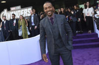 """FILE - Anthony Mackie arrives at the premiere of """"Avengers: Endgame"""" on April 22, 2019. Mackie turns 42 on Sept. 23. (Photo by Chris Pizzello/Invision/AP, File)"""