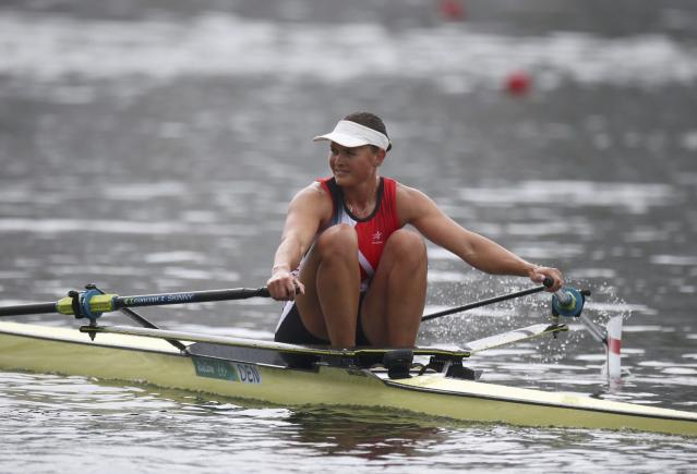 2016 Rio Olympics - Rowing - Semifinal - Women's Single Sculls Semifinal - Lagoa Stadium - Rio De Janeiro, Brazil - 12/08/2016. Fie Udby Erichsen (DEN) of Denmark competes. REUTERS/Carlos Barria FOR EDITORIAL USE ONLY. NOT FOR SALE FOR MARKETING OR ADVERTISING CAMPAIGNS.