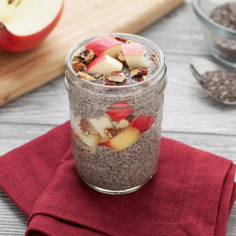 """<p>Switch up your morning oatmeal routine with this so-easy chia pudding recipe. It's made just like overnight oats: combine chia and your milk of choice, let soak overnight, then top with the classic flavor combo of apples and cinnamon, with pecans for added crunch. <a href=""""http://www.eatingwell.com/recipe/258638/apple-cinnamon-chia-pudding/"""" rel=""""nofollow noopener"""" target=""""_blank"""" data-ylk=""""slk:View recipe"""" class=""""link rapid-noclick-resp""""> View recipe </a></p>"""