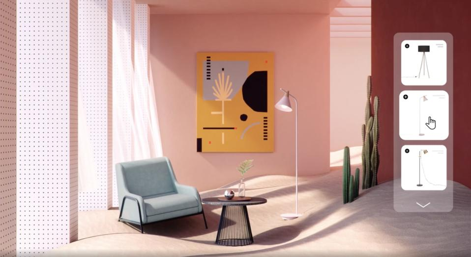 Animated depiction of GAIA Design's visualization tool featuring the company's coffee table, lamp, and chair.