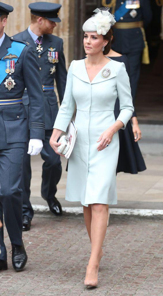 """<p>The Duchess <a href=""""https://www.townandcountrymag.com/society/tradition/a22100784/kate-middleton-raf-100-celebration-dacre-brooch-pale-blue-dress/"""" rel=""""nofollow noopener"""" target=""""_blank"""" data-ylk=""""slk:made a surprise appearance"""" class=""""link rapid-noclick-resp"""">made a surprise appearance</a> at the RAF Centenary Service, which was held today in London. Kate wore a pale blue Alexander McQueen dress with a Sean Barrett hat. She accessorized with nude pumps, a cream-colored clutch, and a Royal Air Force Dacre brooch.</p>"""