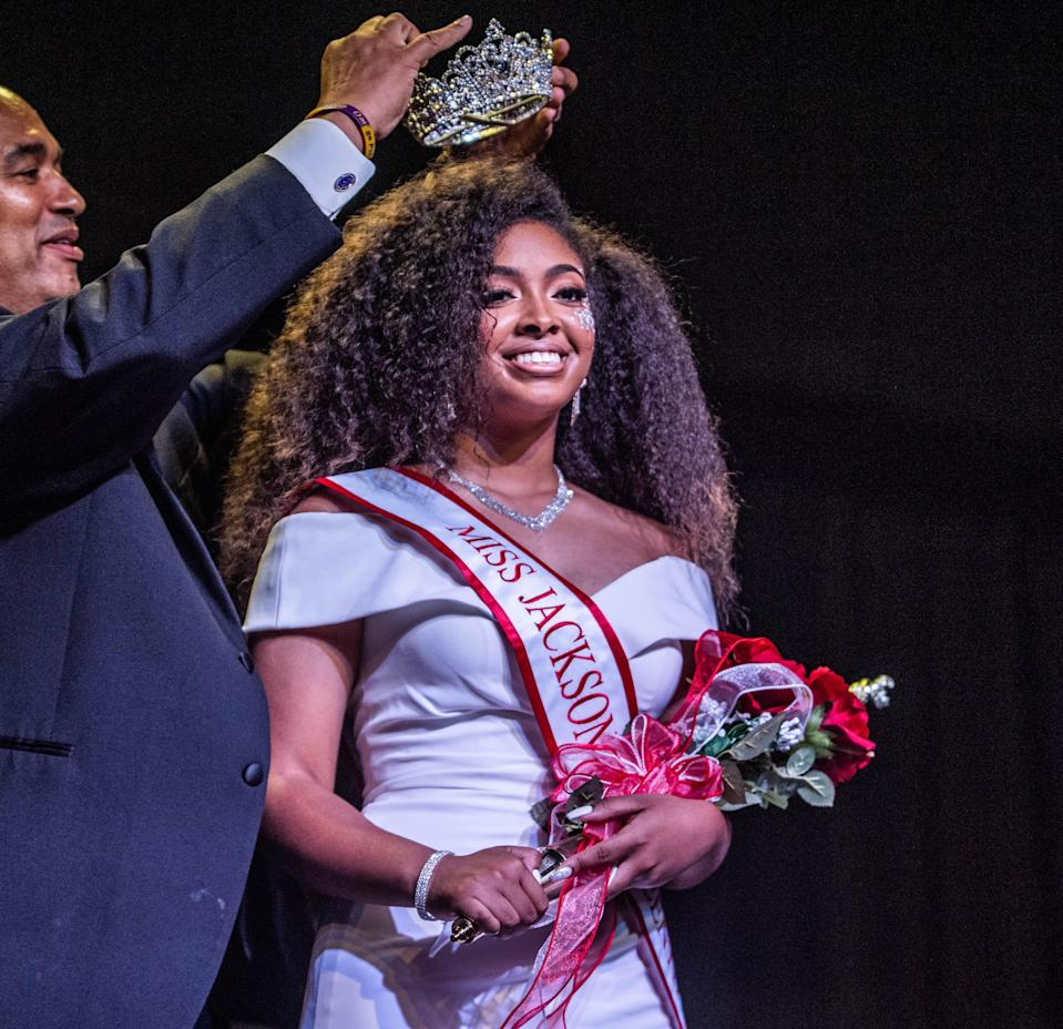 M'Kenzie Lumas-Harmon, is crowned as the winner of the first ever Miss Jackson Juneteenth scholarship pageant on Saturday, June 5, 2021 in Jackson, Tenn.