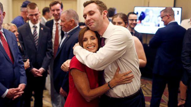 PHOTO: Republican Senate candidate Rep. Martha McSally greets voters in a holding room outside of her election night party in Phoenix, Nov. 6, 2018. (Nicole Neri/Reuters)