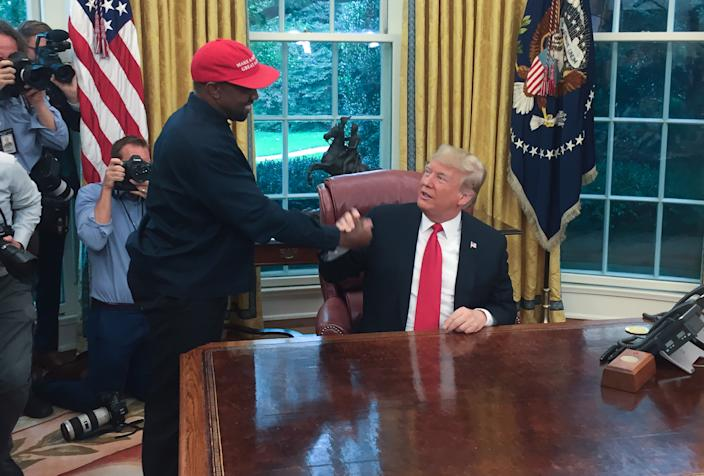 President Donald Trump meets with rapper Kanye West in the Oval Office of the White House in Washington, DC,in 2018. (Sebastian Smith/AFP via Getty Images)