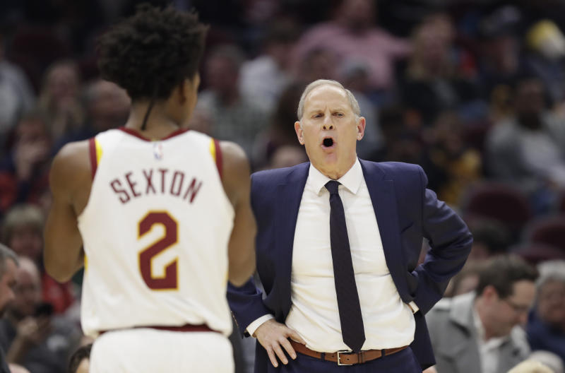Cleveland Cavaliers head coach John Beilein gives instructions to players in the second half of an NBA basketball game against the New York Knicks, Monday, Feb. 3, 2020, in Cleveland. New York won 139-134 in overtime. (AP Photo/Tony Dejak)