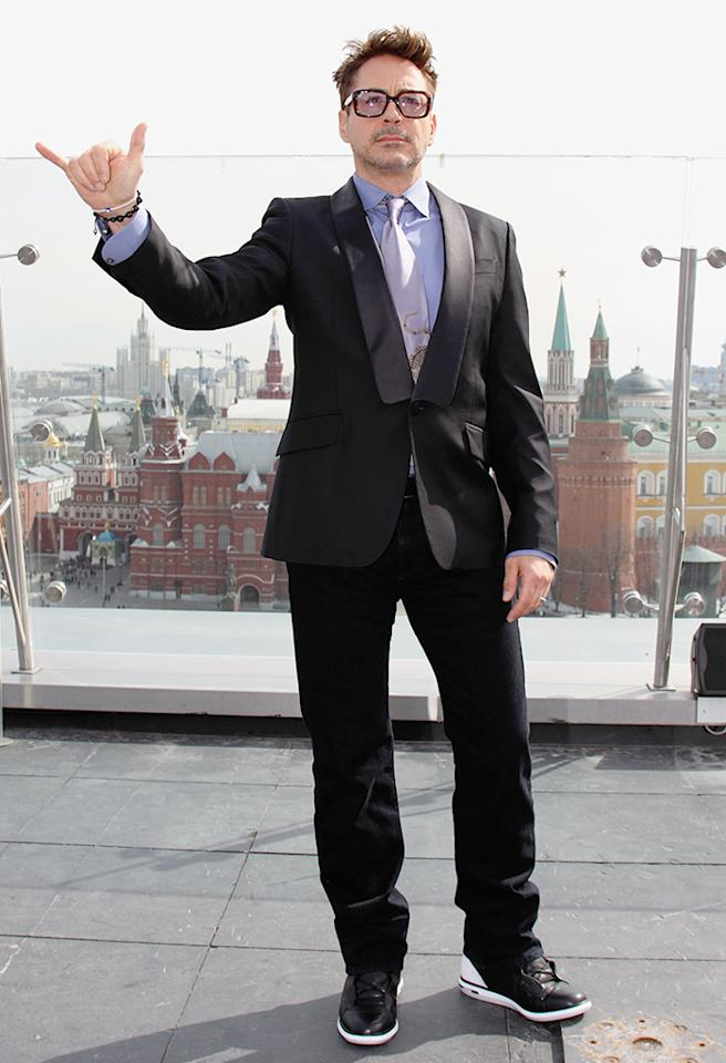 MOSCOW, RUSSIA - APRIL 10:  Actor Robert Downey Jr. poses during a photocall on the roof of Ritz Carlston hotel for Russia Tour for 'Iron Man 3' on April 10, 2013 in Moscow, Russia. (Photo by Gennadi Avramenko/Epsilon/Getty Images)