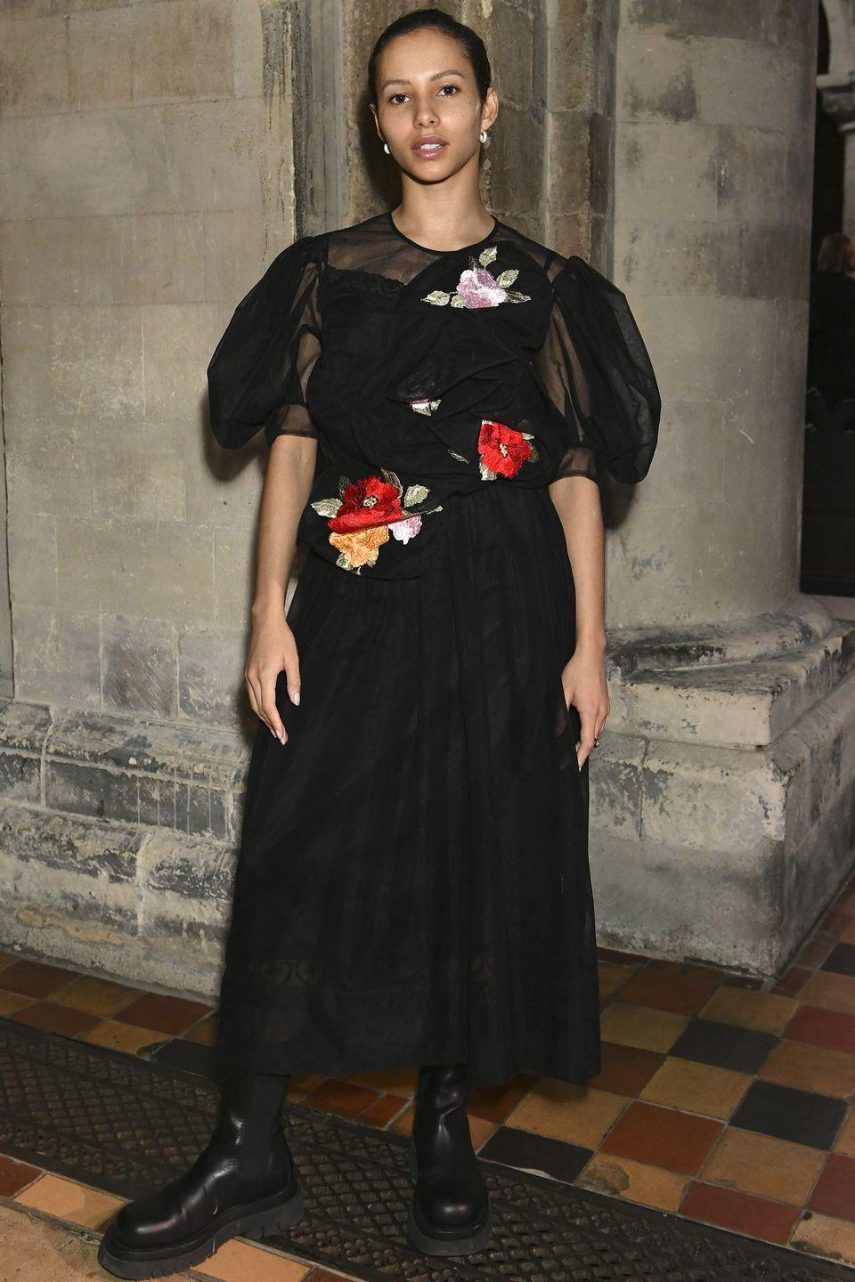 <p><strong>20 September </strong><br></p><p>Francesca Hayward teamed her Simone Rocha dress with chunky ankle boots. </p>