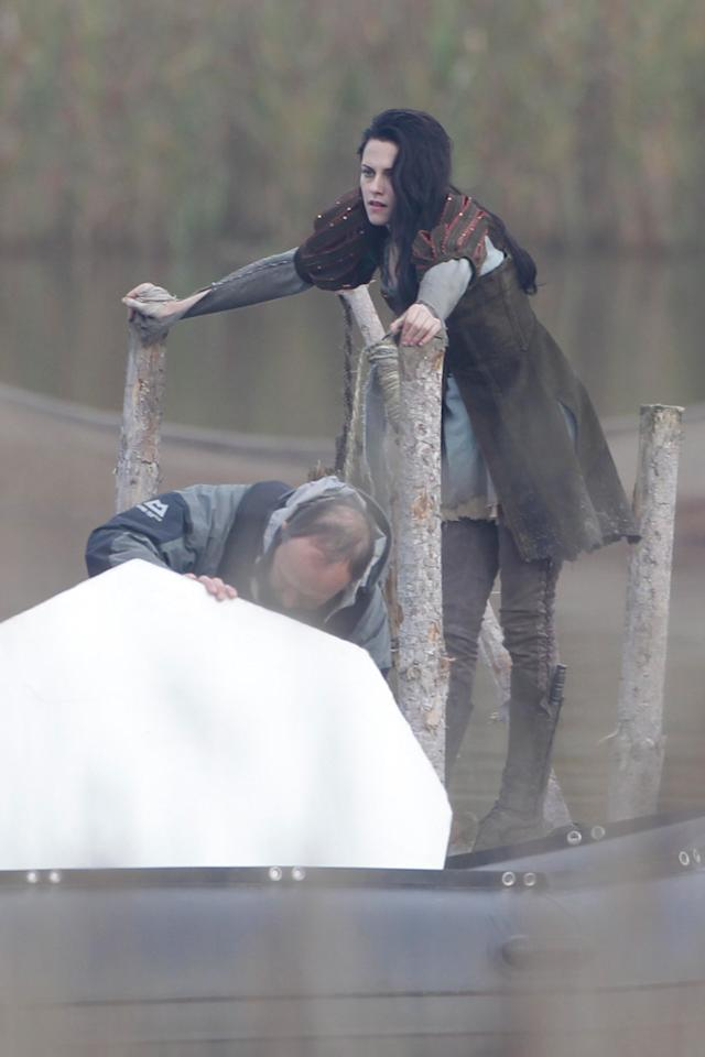 """<a href=""""http://movies.yahoo.com/movie/contributor/1807776250"""">Kristen Stewart</a> is seen on the set of her new film """"Snow White and the Huntsman"""" in Surrey."""
