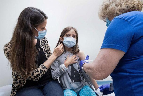 PHOTO: Marisol Gerardo, 9, sits at alongside her mother as she gets the second dose of the Pfizer COVID-19 vaccine during a clinical trial for children at Duke Health in Durham, N.C., April 12, 2021. (Shawn Rocco/Duke Health via Reuters)