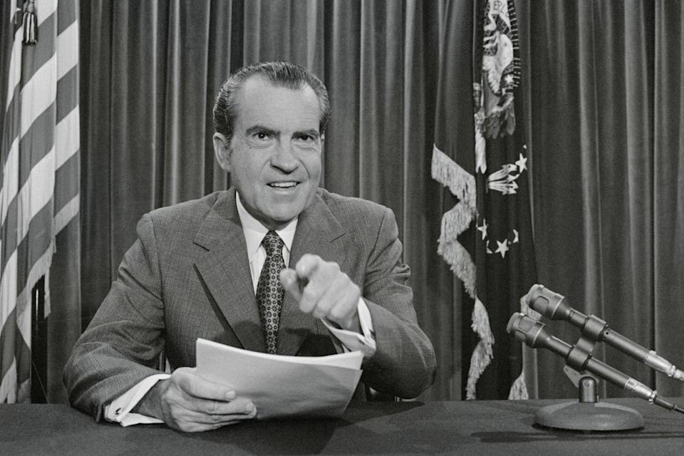 """<p><em>The time has come! </em>President Nixon declared Father's Day an <a href=""""http://time.com/4367990/fathers-day-history-origin/"""" rel=""""nofollow noopener"""" target=""""_blank"""" data-ylk=""""slk:official holiday"""" class=""""link rapid-noclick-resp"""">official holiday</a> in 1972. </p>"""