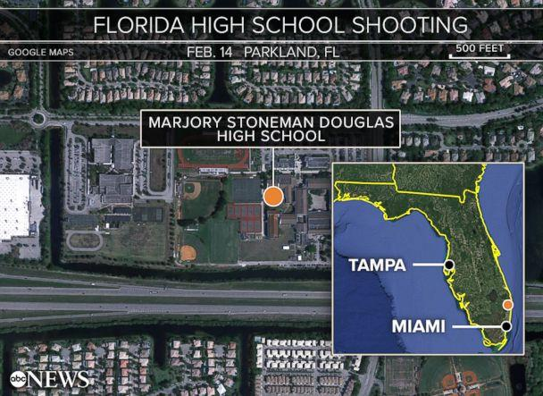 PHOTO: A map shows the location of Marjory Stoneman Douglas High School in Parkland, Fla. (ABC News)